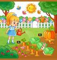 girl is watering garden bed with vegetables vector image