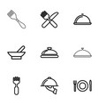 9 serving icons vector image vector image