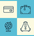 airport icons set collection of plastic card vector image