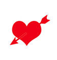 arrow going through heart red love sign vector image vector image