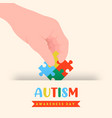 autism awareness day puzzle game hand card vector image vector image
