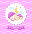 baby new born girl blue card shower template vector image vector image