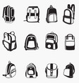 backpack silhouettes vector image vector image