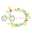 bicycle with balloons and floral round frame with vector image