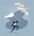 businessman is trying to catch flying dollar coin vector image vector image