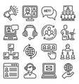call center and communication services icons set vector image vector image