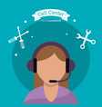 call center woman support help vector image vector image