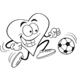 Cartoon Heart Playing Soccer vector image vector image
