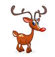 cartoon red nose reindeer rudolph vector image vector image