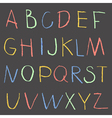 Chalk color hand drawing alphabet on a blackboard vector image vector image