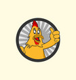 chicken mascot logo template with cute character vector image
