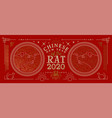 chinese new year 2020 banner gold asian line rat vector image vector image