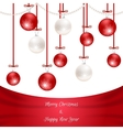 Christmas card in white with red silk and hanging vector image