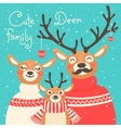 Christmas reindeer family Cute card with deer is vector image