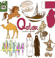 Collection of Qatar icons vector image vector image
