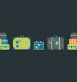 colorful luggage seamless border vector image