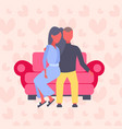 couple in love man woman sitting on couch lovers vector image vector image