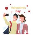 couple taking selfie photo happy valentines day vector image vector image