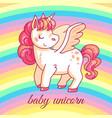 cute baby unicorn cartoon fairy magic pony vector image vector image