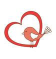 cute bird with heart vector image