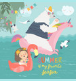 cute girls and polar bear with a swimming circles vector image