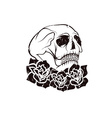 Day of The Dead Skull with flowers dia de los vector image vector image