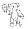 drawing teddy bear with flowers vector image vector image
