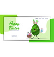 egg with rabbit ears holding basket and vector image vector image