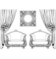 exquisite imperial baroque armchair and mirror vector image vector image