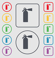 extinguisher icon sign symbol on the Round and vector image