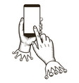 hand holding smart phone with tap finger on the vector image vector image