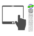 hand points mobile tablet icon with set vector image vector image