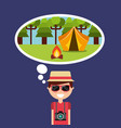 happy tourist thinking camping tent forest vector image