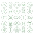 Line Circle Camping Icons Set vector image