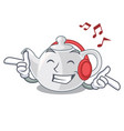 listening music porcelain teapot in table a vector image