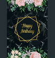 luxury happy birthday card with pink flowers on vector image vector image