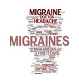 migraine myths text background word cloud concept vector image vector image