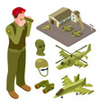 military air force base isometric with helicopter vector image