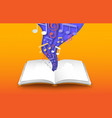 open book with 3d papercut color music notes vector image