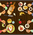 persons is eating breakfast vector image vector image