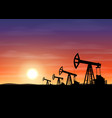 petroleum rigs at sunset oil drill background vector image