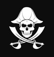 pirate skull in captain hat with crossed sabers vector image