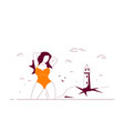 plus size woman posing at beach vector image