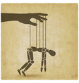 puppet marionette on ropes on vintage background vector image vector image