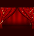 red curtains open luxury invitation banner vector image