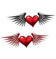 retro heart with wings vector image vector image