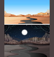 road to the desert day and night vector image