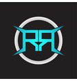 rr logo monogram with circle and four taper shape vector image vector image