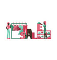 sale women character selling clothes and vector image