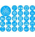 Seafood blue icons collection vector image vector image